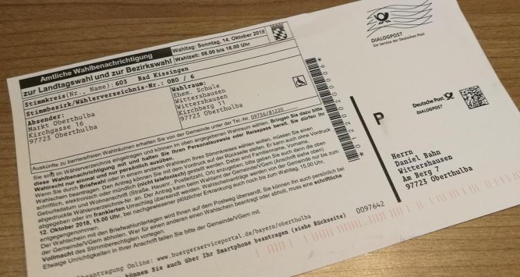 Informationen zur Landtagswahl im Markt Oberthulba – Briefwahl online beantragen