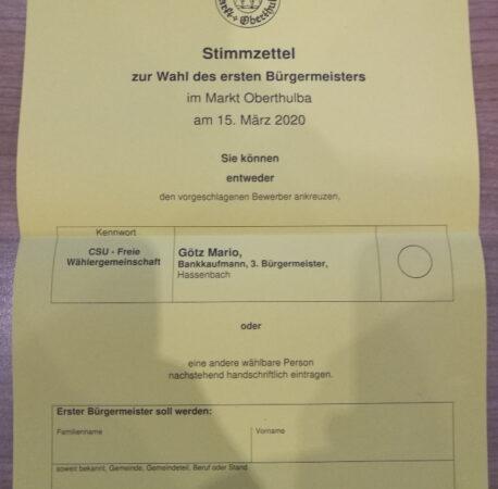 Informationen zur Bürgermeisterwahl
