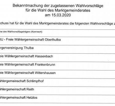 Alle Kandidaten für die Gemeinderatswahl 2020 im Markt Oberthulba