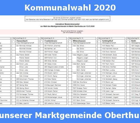 Interaktiver Musterstimmzettel für die Kommunalwahl im Markt Oberthulba